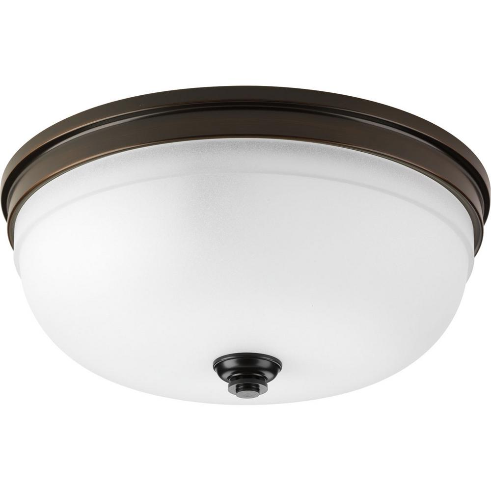 Progress Lighting Topsail Collection 3-Light Antique Bronze Flush Mount with Parchment-Finish Glass
