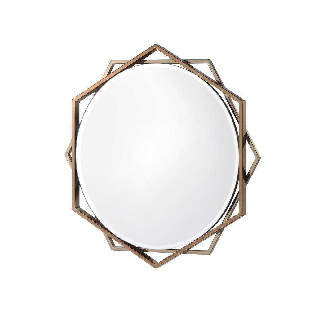 Antoine Round Champagne Decorative Wall Mirror