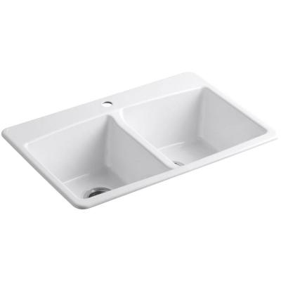 Brookfield Drop-In Cast Iron 33 in. 1-Hole Double Bowl Kitchen Sink in White