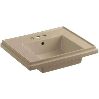 Tresham 24 in. Fireclay Pedestal Sink Basin in Mexican Sand with Overflow Drain