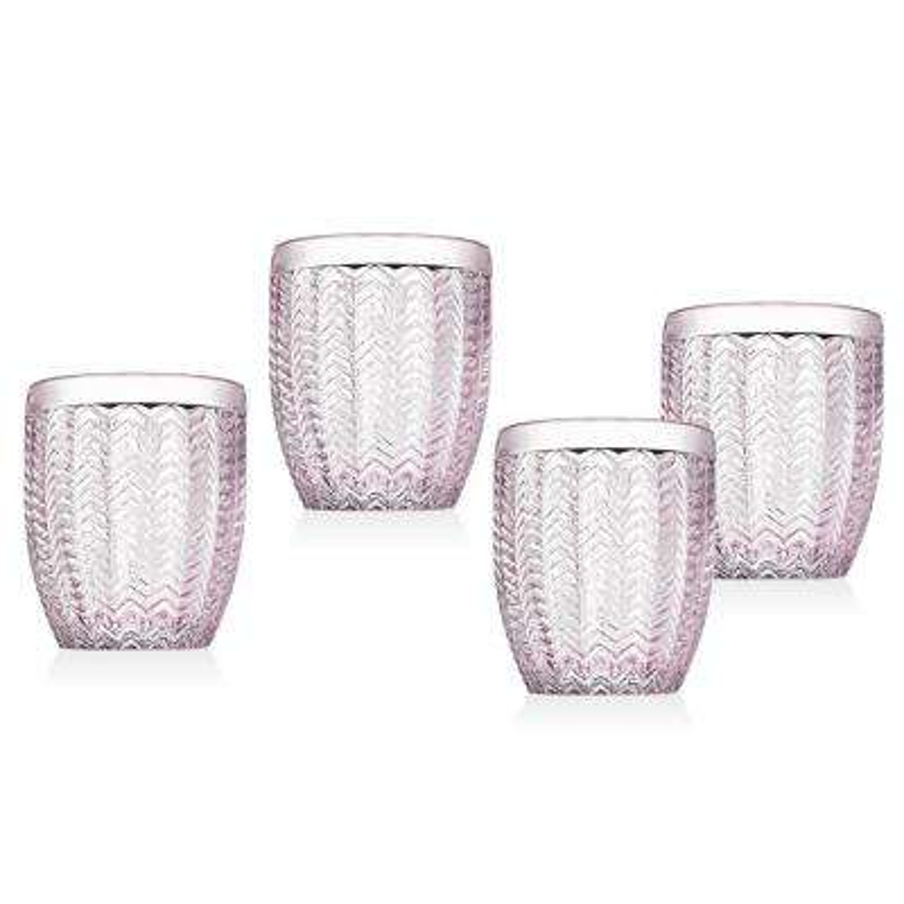 Twill 11 oz. Pink Crystal Doff Glasses (Set of 4)