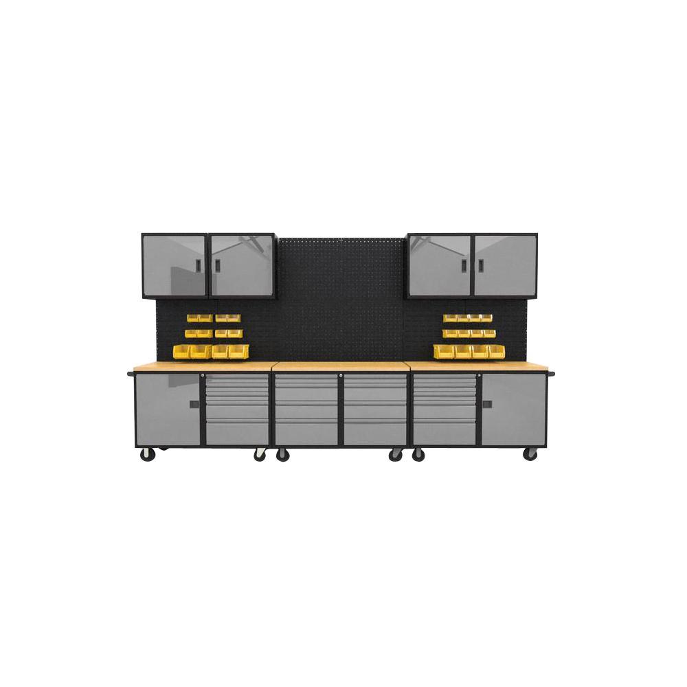 Suite C 84 in. H x 144 in. W x 21 in. D Steel Garage Cabinet Set in Black/Silver (13-Piece)