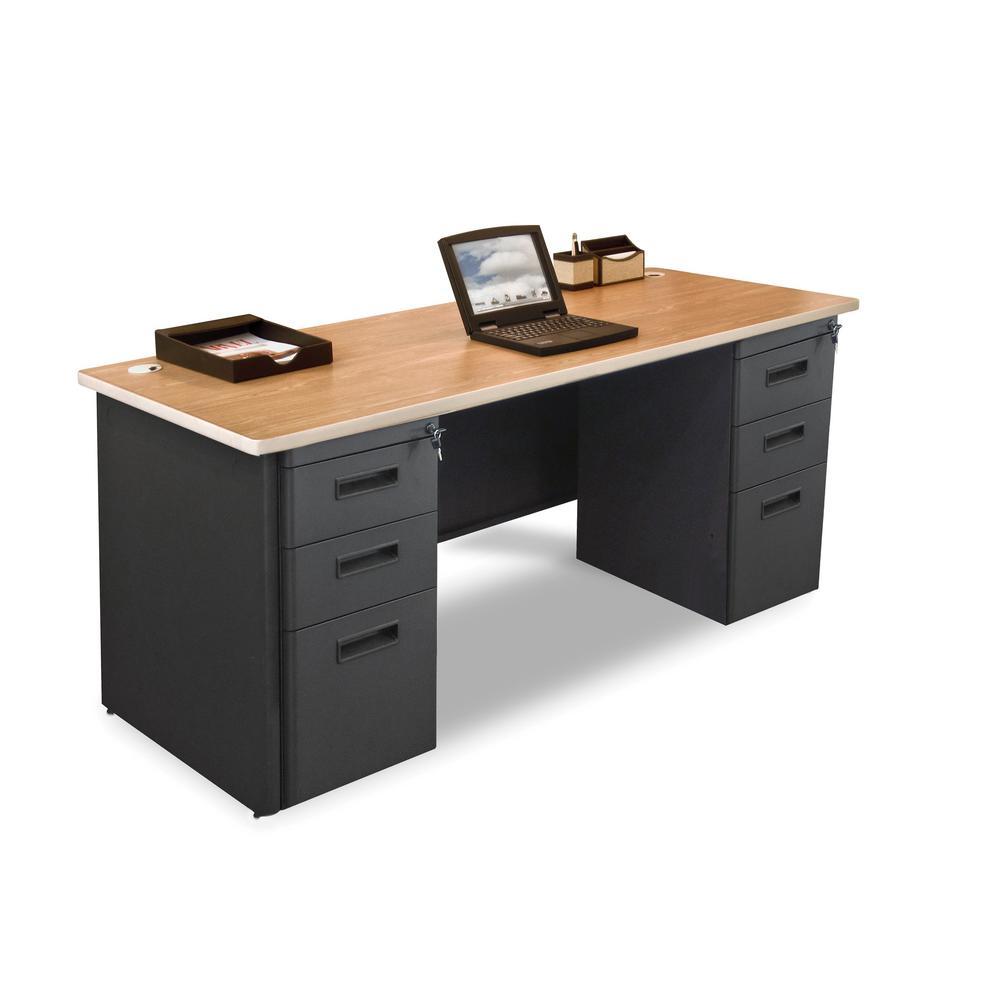 72 in. W x 36 in. D Oak Laminate and Putty  Double Full Pedestal Desk