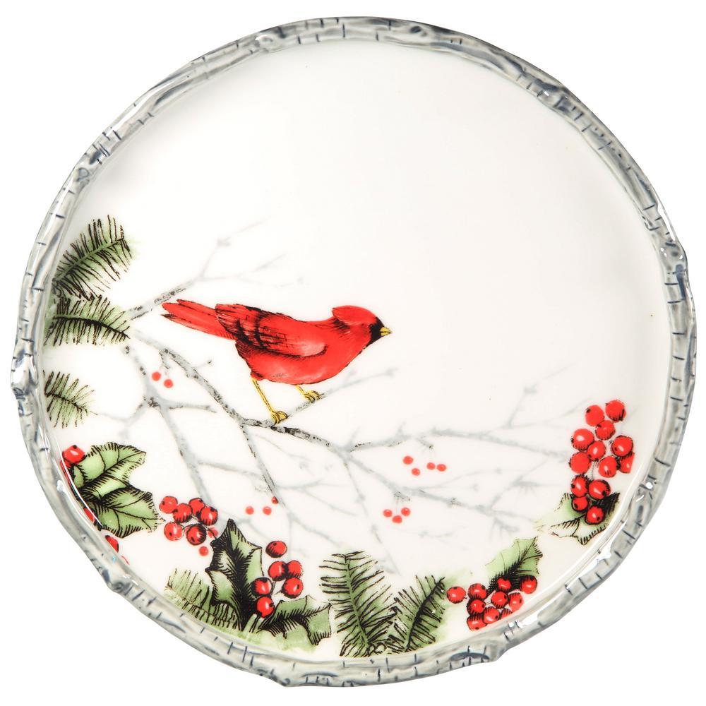 """12"""" D Cardinal Holly Round Platter"""