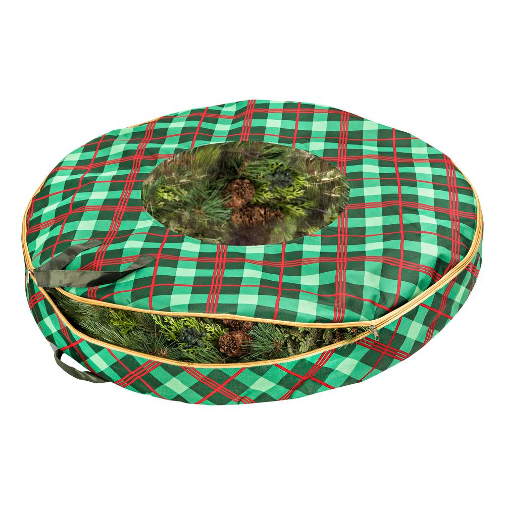 Red and Green Plaid Artificial Storage Bag for Wreaths up to