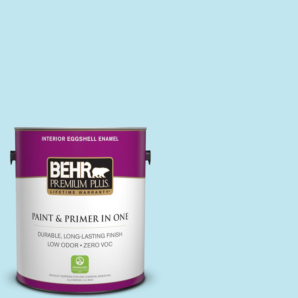 BEHR Premium Plus 1-gal. #520A-2 Ice Flower Zero VOC Eggshell Enamel Interior Paint