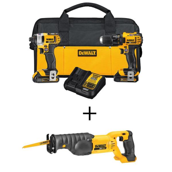 DEWALT 20-Volt MAX Lithium-Ion Cordless Drill/Driver & Reciprocating Saw Combo Kit (2-Tool) w/ (2) 20-Volt Batteries 1.5Ah