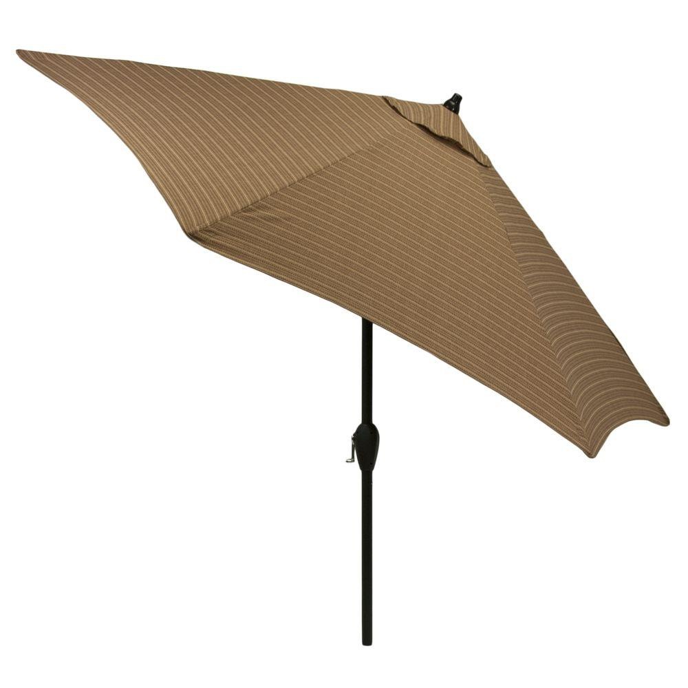 Hampton Bay 9 ft. Aluminum Patio Market Umbrella in Bark Stripe