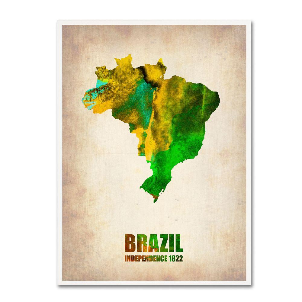 null 32 in. x 24 in. Brazil Watercolor Map Canvas Art