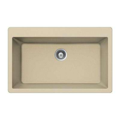 Quartztone Drop-In Granite Composite 33 in. Single Bowl Kitchen Sink in Sand