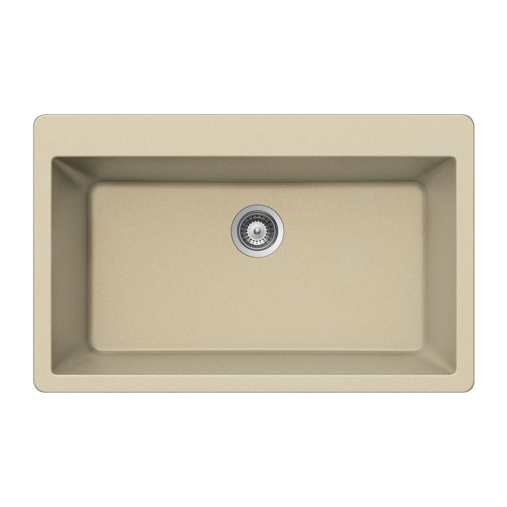 Quartztone Undermount Granite Composite 33 in. Single Bowl Kitchen Sink in Sand