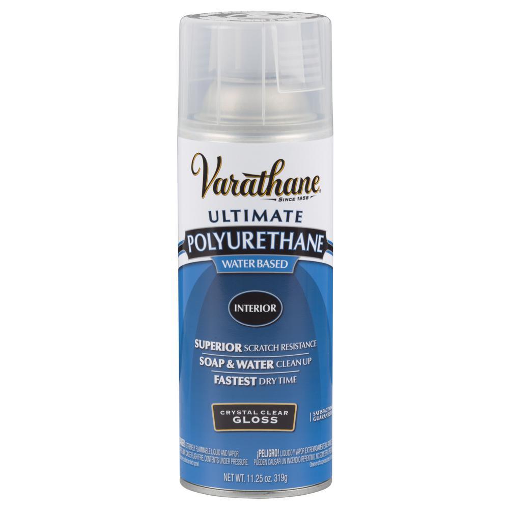 Varathane oz clear gloss water based interior polyurethane spray paint 6 pack 200081 for Varathane water based exterior polyurethane