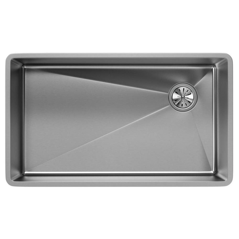 Crosstown Undermount Stainless Steel 32 in. Single Bowl Kitchen Sink with Offset Drain