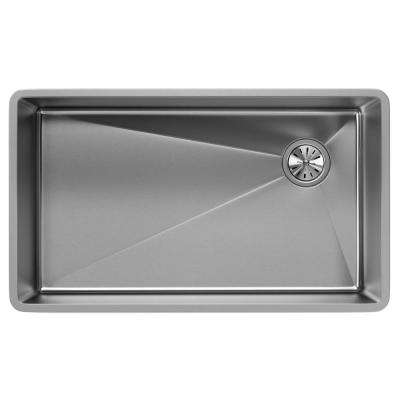 Crosstown Undermount Stainless Steel 32 in. Single Bowl Kitchen Sink with Offset Drain