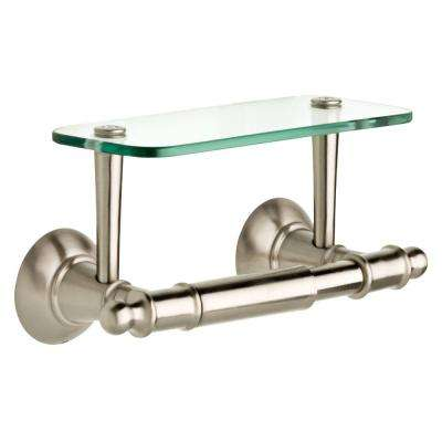 Toilet Paper Holder with Glass Shelf in Brushed Nickel