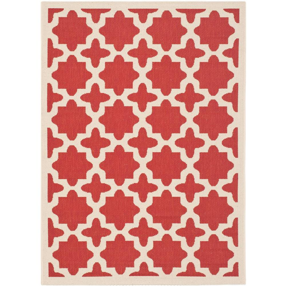 Courtyard Red/Bone 4 ft. x 5 ft. 7 in. Indoor/Outdoor Area