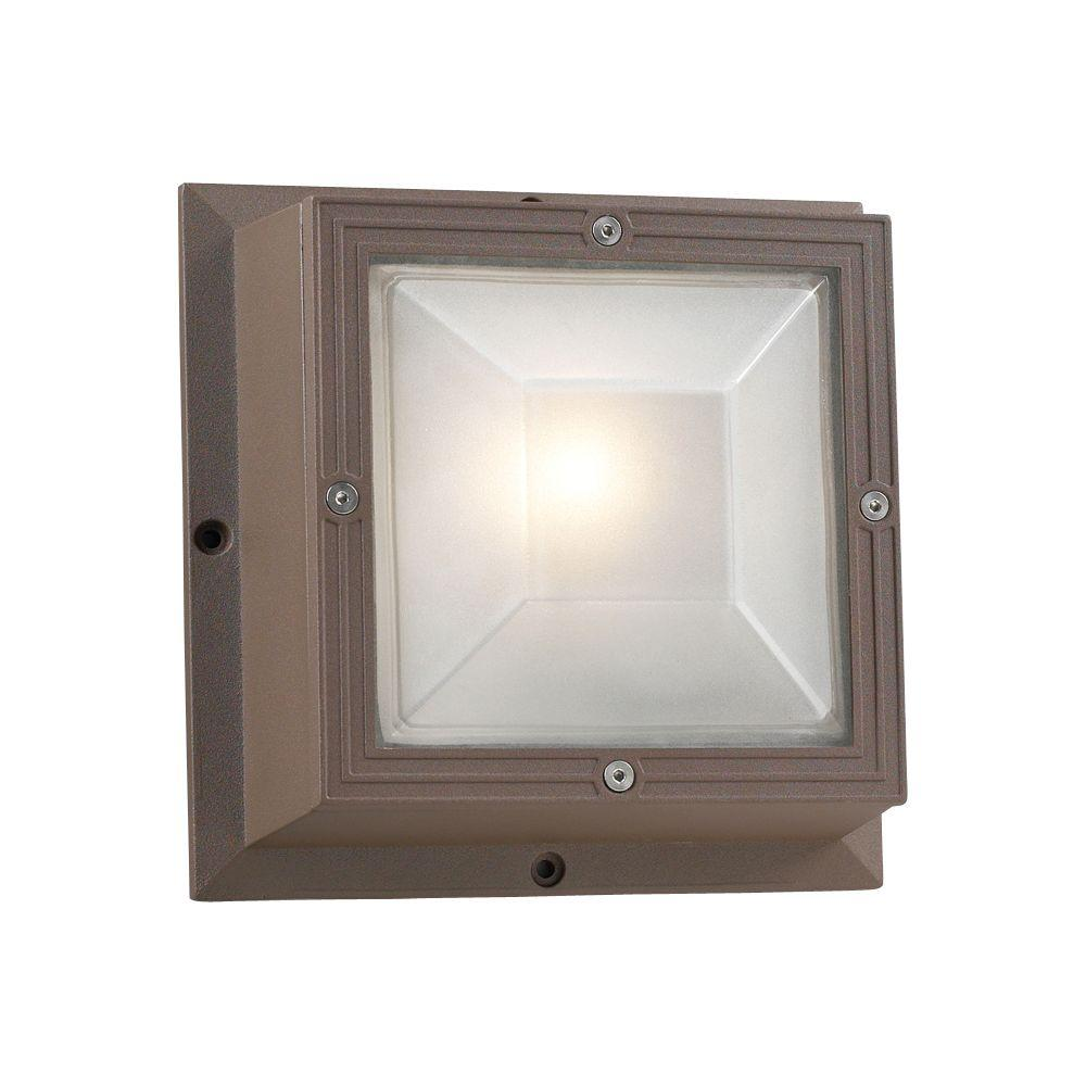 1 Light Outdoor Wall Sconce Bronze Finish Frost Glass