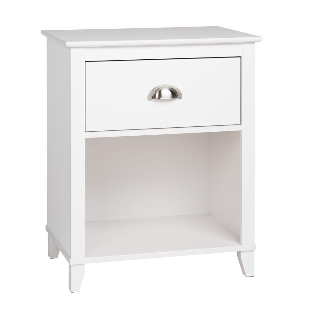 Yaletown 1-Drawer White Nightstand