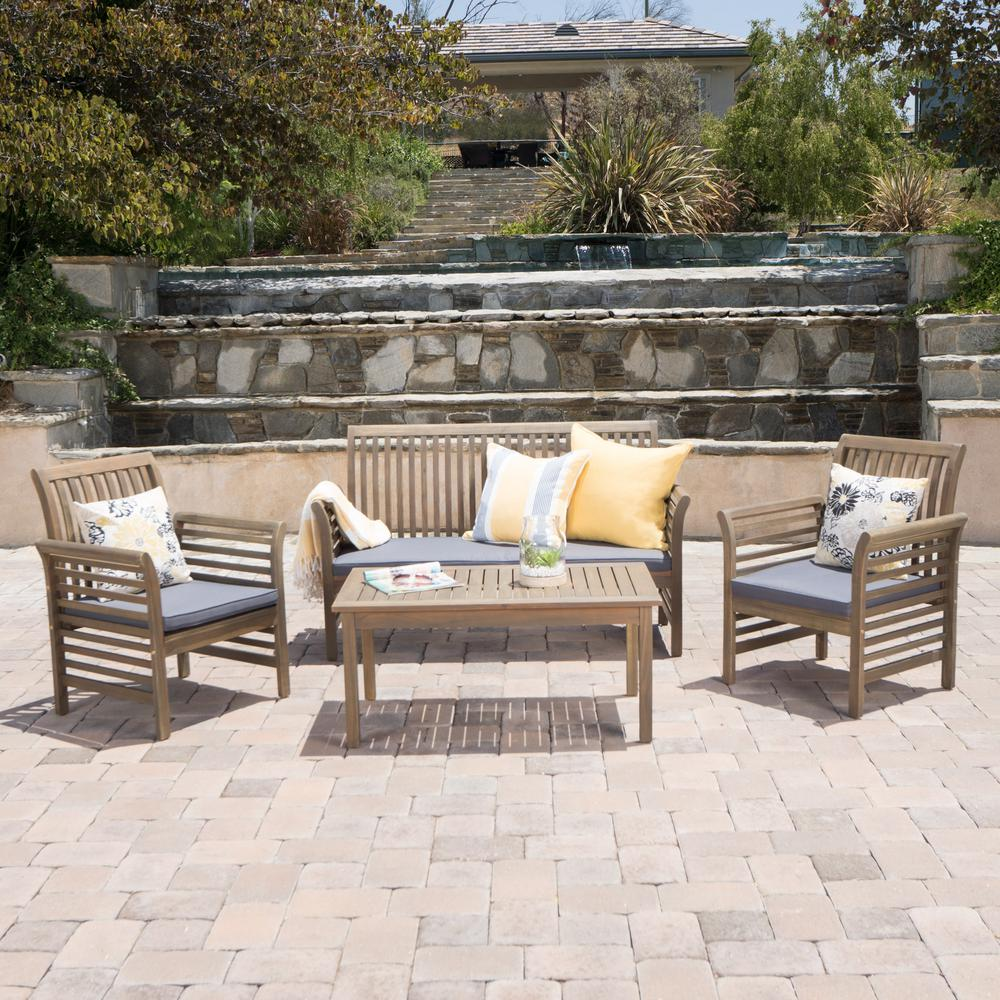 Noble House Lily Grey 4-Piece Wood Patio Conversation Set with Dark Grey Cushions