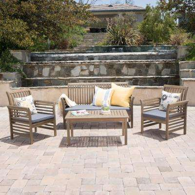 Lily Grey 4-Piece Wood Patio Conversation Set with Dark Grey Cushions