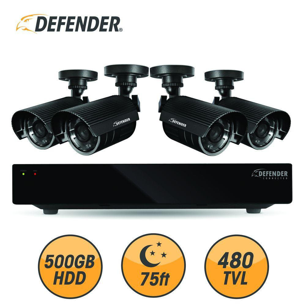 Defender 4-Channel 500GB Hard Drive Surveillance System with (4) 480 TVL Cameras-DISCONTINUED