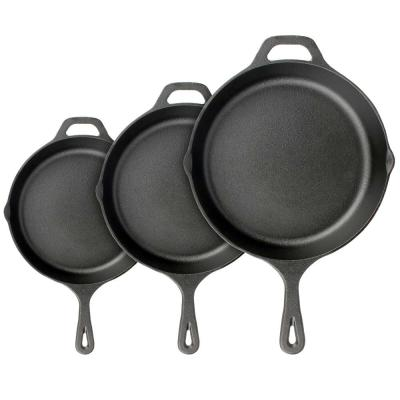 3-Piece Pre-Seasoned Iron Skillet Cooking Pan Set with Cool Touch Comfort Handles