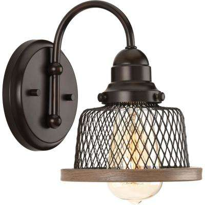 Tilley Collection 1-Light Antique Bronze Bath Sconce with Mesh Shade