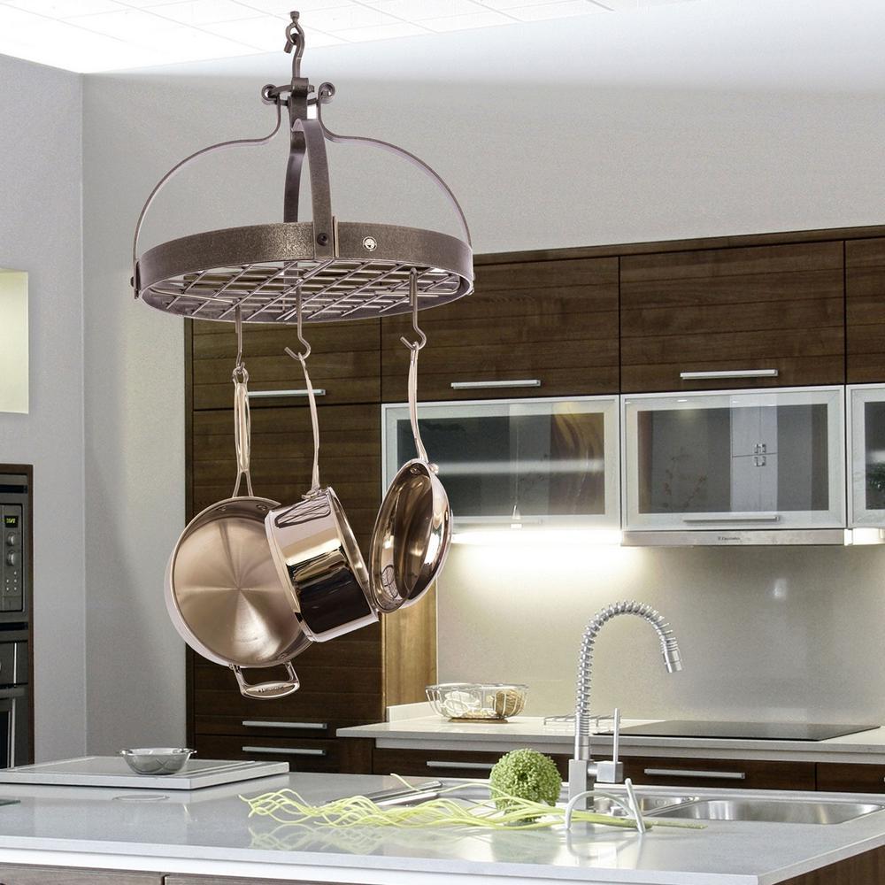 Enclume Hammered Steel Hanging Dutch Crown Ceiling Pot Rack by Enclume