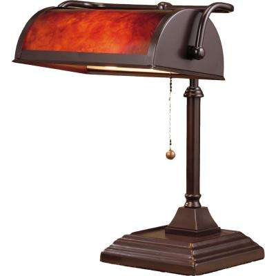 14 in. Brown Bankers Lamp with Mica Shade