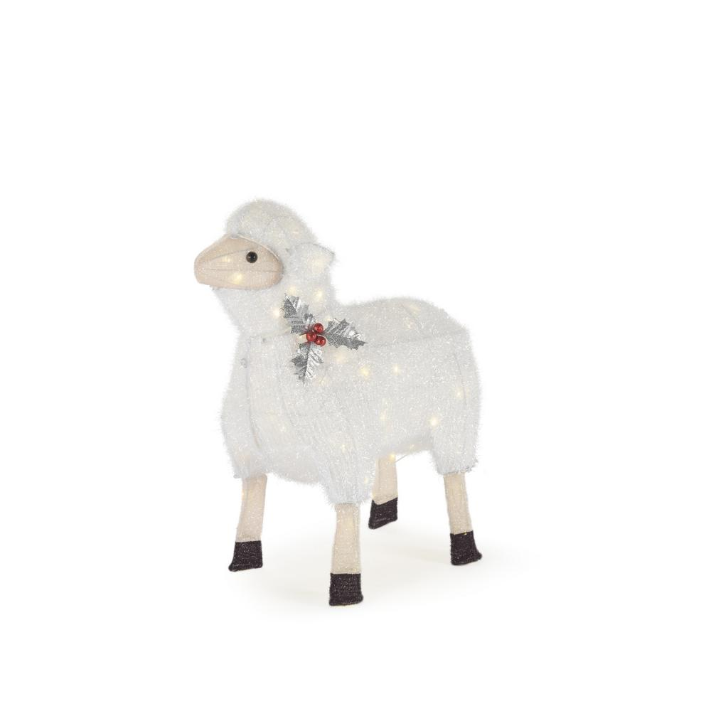 Home Accents Holiday 22 in. 60-Light LED Tinsel Sheep