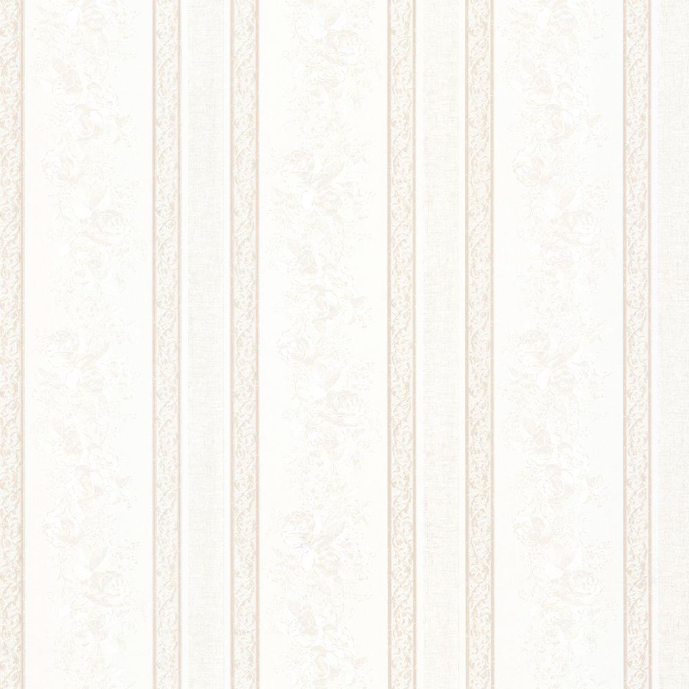 Trish White Satin Floral Scroll Stripe Wallpaper