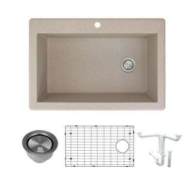 Radius All-in-One Drop-in Granite 33 in. 1-Hole Single Bowl Kitchen Sink in Cafe Latte