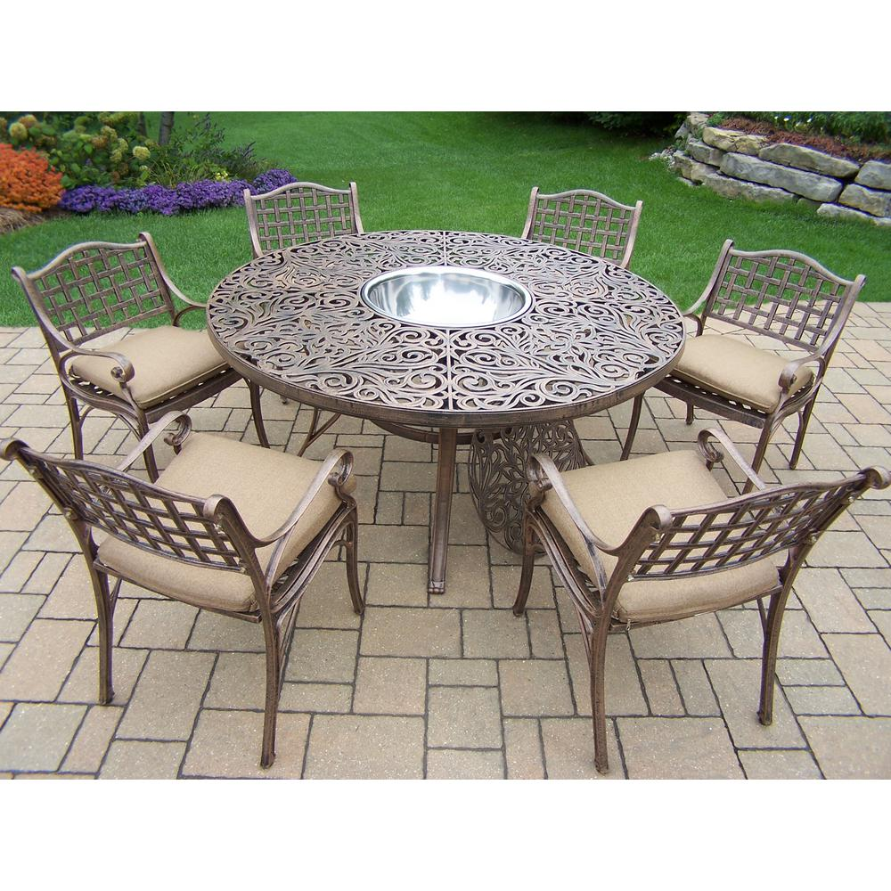 8-Piece Aluminum Outdoor Dining Set with Sunbrella Beige Cushions and Stainless