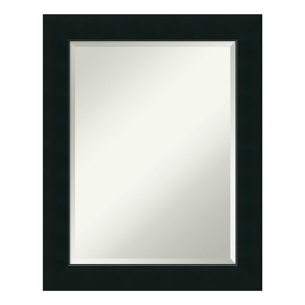 Corvino 23 in. W x 29 in. H Framed Rectangular Beveled Edge Bathroom Vanity Mirror in Satin Black
