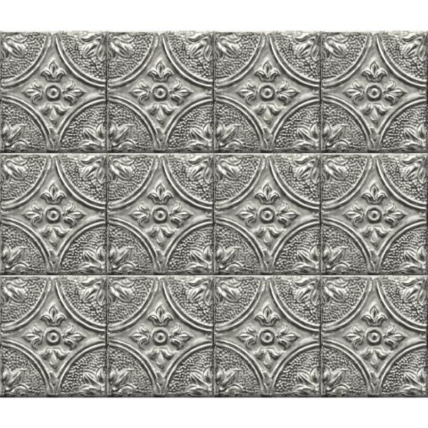 Brewster Silver Tin Tile Peel and Stick Backsplash Wall Decal BHF2774