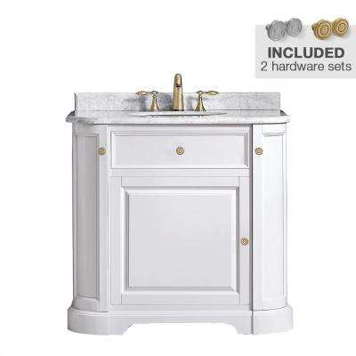 Diana 36 in. W x 22.5 in. D Vanity in Pure White with Marble Vanity Top in Carrera with White Basin