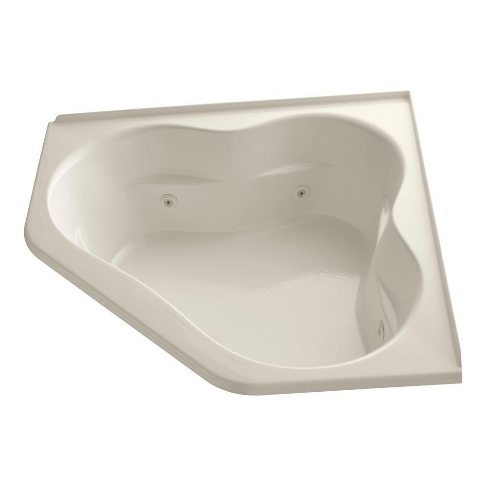 Tercet 5 ft. Acrylic Oval Drop-in Whirlpool Bathtub in Almond