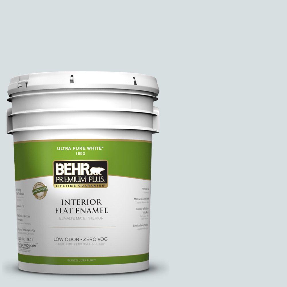 BEHR Premium Plus 5-gal. #490E-2 Delicate Mist Zero VOC Flat Enamel Interior Paint-DISCONTINUED