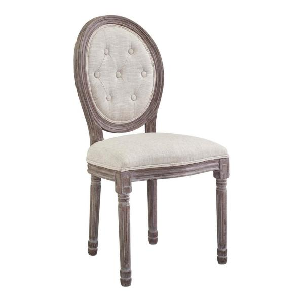 MODWAY Arise Vintage French Beige Upholstered Fabric Dining Side Chair