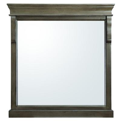 30 in. W x 32 in. H Framed Rectangular  Bathroom Vanity Mirror in Distressed Grey