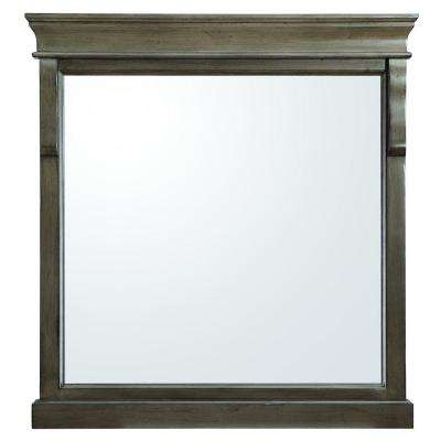 Naples 30 in. x 32 in. Wall Mirror in Distressed Grey