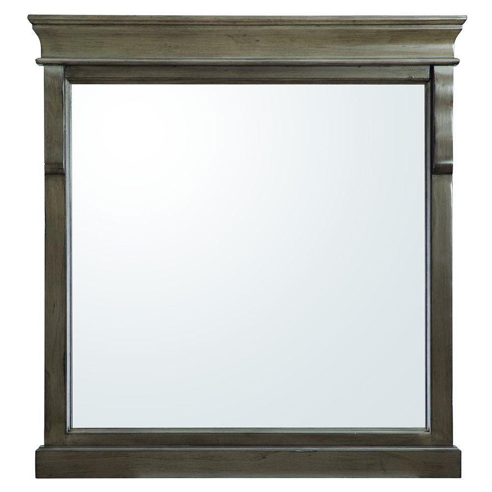 30 in. W x 32 in. H Framed Rectangular  Bathroom Vanity Mirror in Distressed Grey