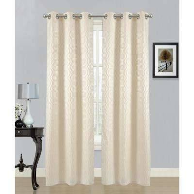 84 in. Swirl Grommet Curtain Panel Pair in Ivory (2-Pack)