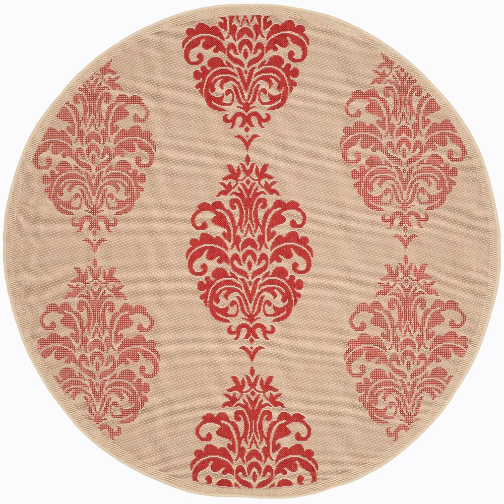 Safavieh Courtyard Natural Red 7 Ft X 7 Ft Indoor