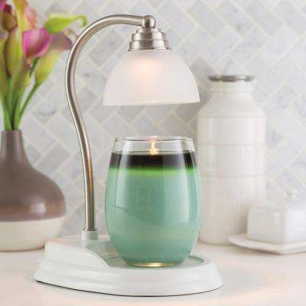 11 in. White Nickel Aurora Candle Warmer Lamp