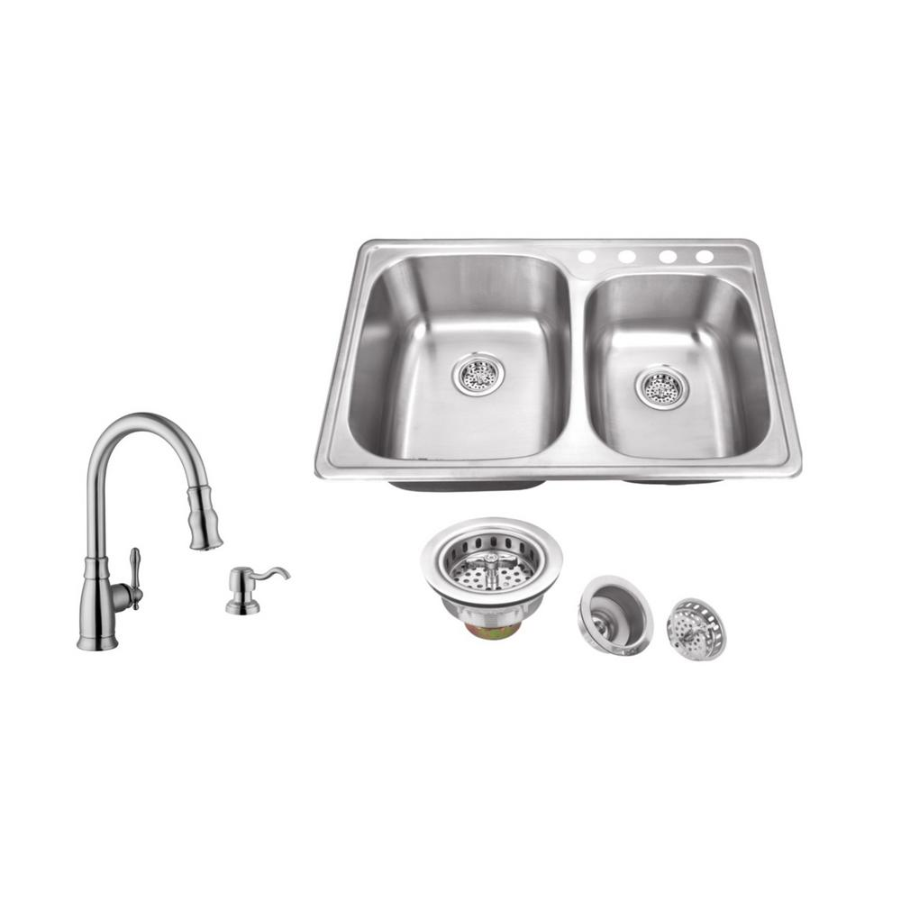 Ipt Sink Company Drop In 33 In 4 Hole Stainless Steel Double Bowl