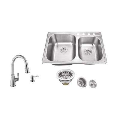 Drop-In 33 in. 4-Hole Stainless Steel Double Bowl Kitchen Sink in Brushed Stainless with Arc Kitchen Faucet