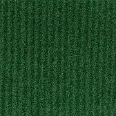Premium Self-Stick Heather Green Ribbed Texture 18 in. x 18 in. Carpet Tile (16 Tiles/Case)