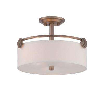 Gramercy Park 3-Light Old Satin Brass Interior Incandescent Semi Flush Mount