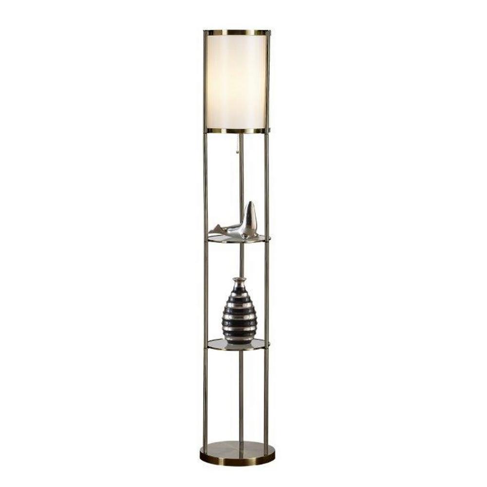 Exeter 63 in. Antique Brass Shelf Floor Lamp